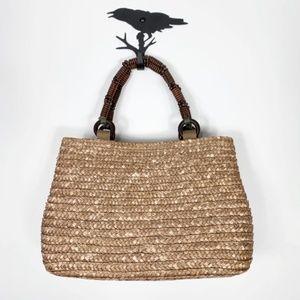 Magid Straw Bag With Beaded Wood Handle